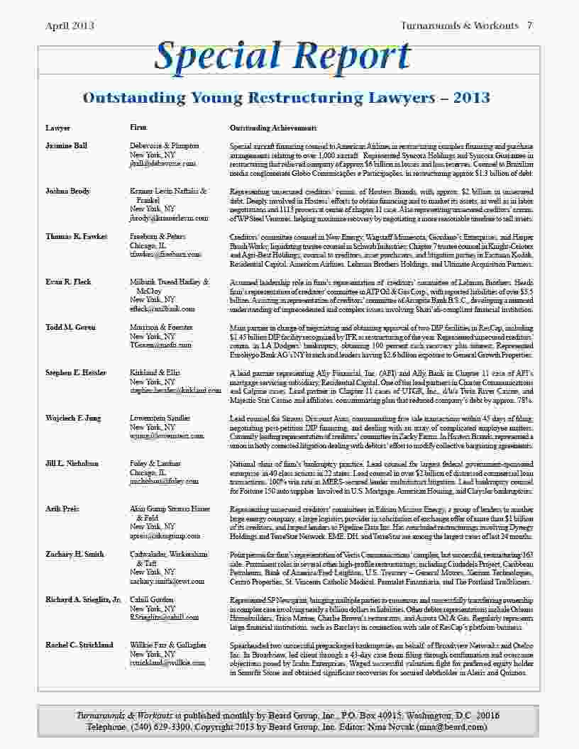 Outstanding Young Restructuring Lawyers